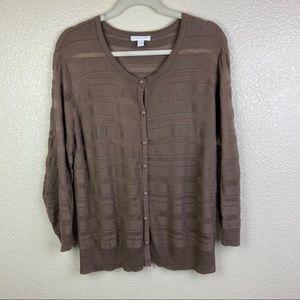 New York & Company Sweater Sz XL Brown 3/4 Sleeves